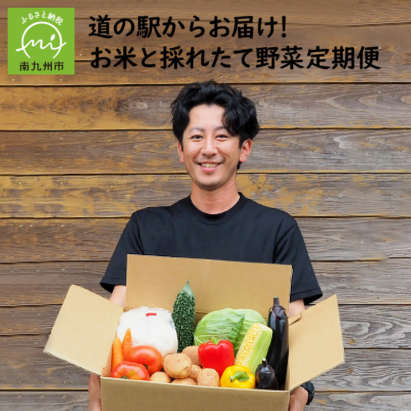 【ふるさと納税】道の駅からお届け!お米と採れたて野菜定期便
