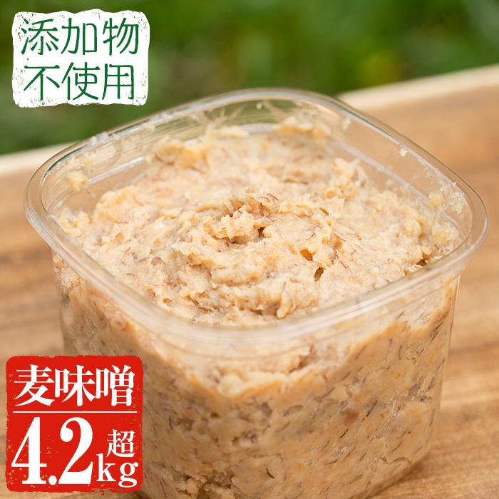 【ふるさと納税】麦みそ4.25kg(850g×5パック)九州産麦と自家栽培大豆に自家栽培玄米麹をプラスした上品な甘さのお味噌!【雲月農園】