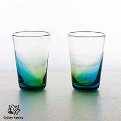 激安 【ふるさと納税】【琉球ガラス】うみいろオリオングラス/ペア【青・緑】, 長生村 fdfa1ab2