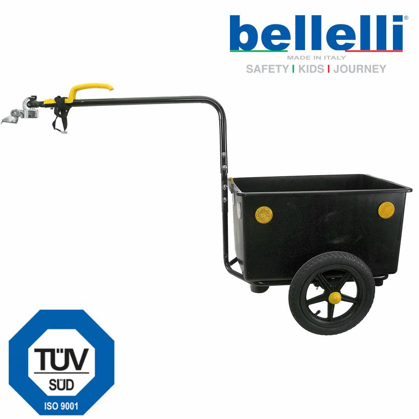 【即納】ベレリー・エコトレーラー・マキシー<Bellelli Eco Trailer Maxi> 簡単脱着 軽快な走行 20インチから700C車まで幅広く接続対応 分離防止ストラップ付き けん引時動荷重35キロ ボックス容積 60 liters カラー:ブラック