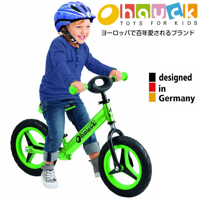 【即納】ドイツの名門ハウク・アル・ライダー<Hauck Alu Rider 12>本格アルミフレーム 子供が喜ぶカラフル・デザイン XLポスト付きで永く乗れる しっかりグリップ・ラバープロファイル・本格ノーパンクタイヤ 一緒に遊べるハンドル カラー:グリーン