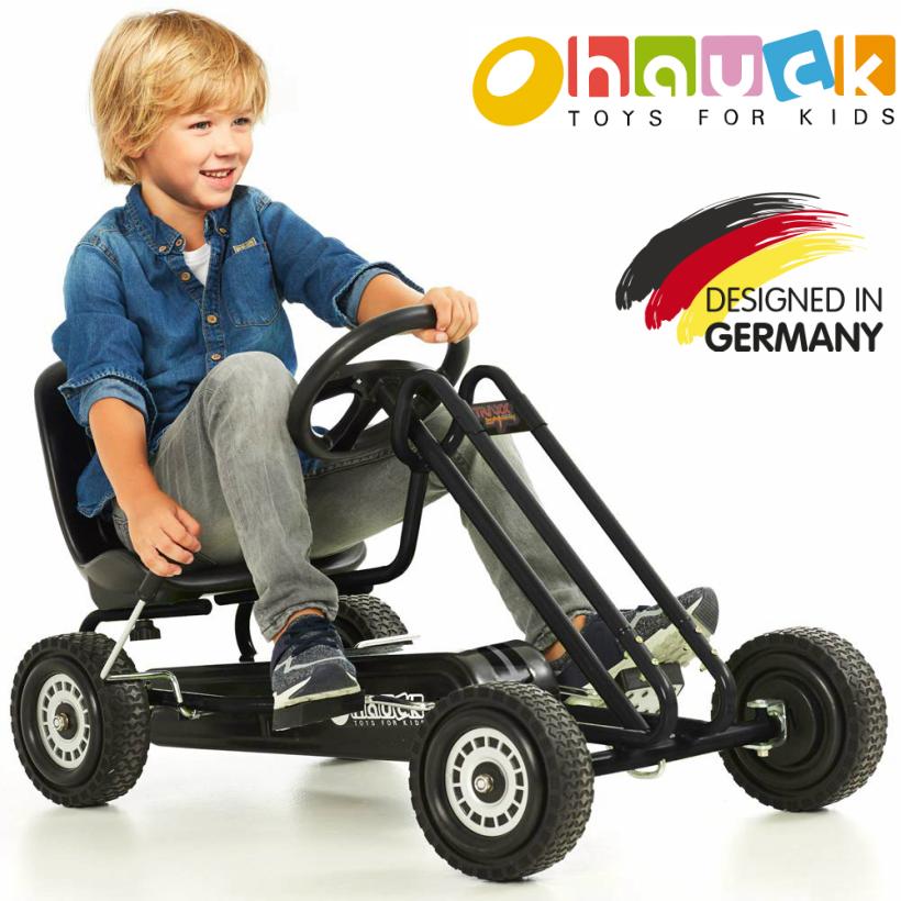 【即納,箱若干よごれ】ドイツの名門ハウク・ペダル・ゴーカート<Hauck Lightning Pedal Go Kart> 速く走れて機敏な操作 頑丈なフレーム しっかりグリップ・タイヤ欧米のベストセラー カラー:ブラック