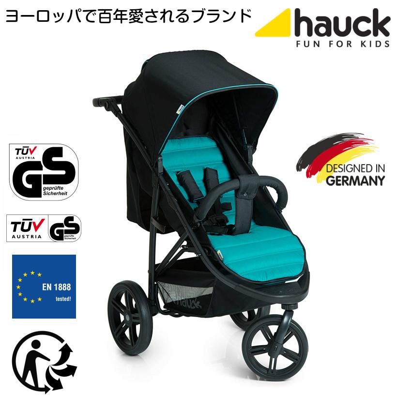 【即納】ドイツの名門ハウク・ラピッド3<HAUCK RAPID3> おしゃれベビーカー 片手折畳み コンパクト 大型EVAホイール 広々快適キャビン リクライニング 積載25kg レビューで保証延長 カラー:キャビア・ターコイズ