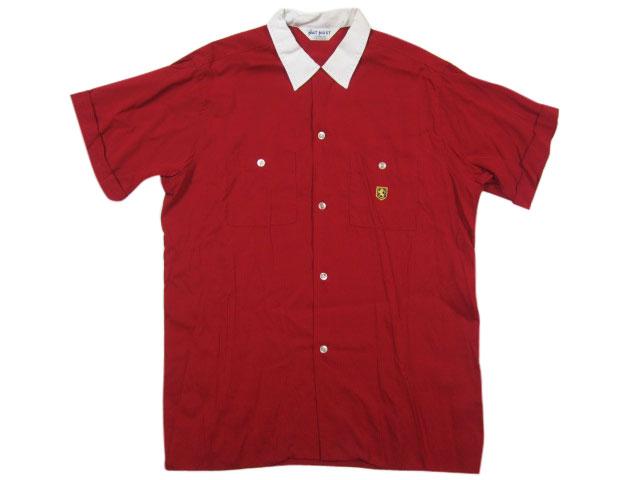 【中古】 60's NAT NAST 刺繍下書き ヴィンテージ ボウリングシャツ 赤×白 【サイズ:16 1/2】【アメカジ】【smtb-m】【あす楽対応】【古着屋mellow市場店】