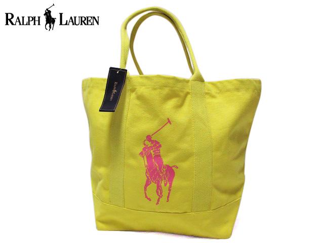 【新品】Ralph Lauren ラルフローレン ビッグポニープリント キャンバストートバッグ 黄×ピンク 【Canvas Pink Pony Tote】【smtb-m】【あす楽対応】【古着屋mellow市場店】