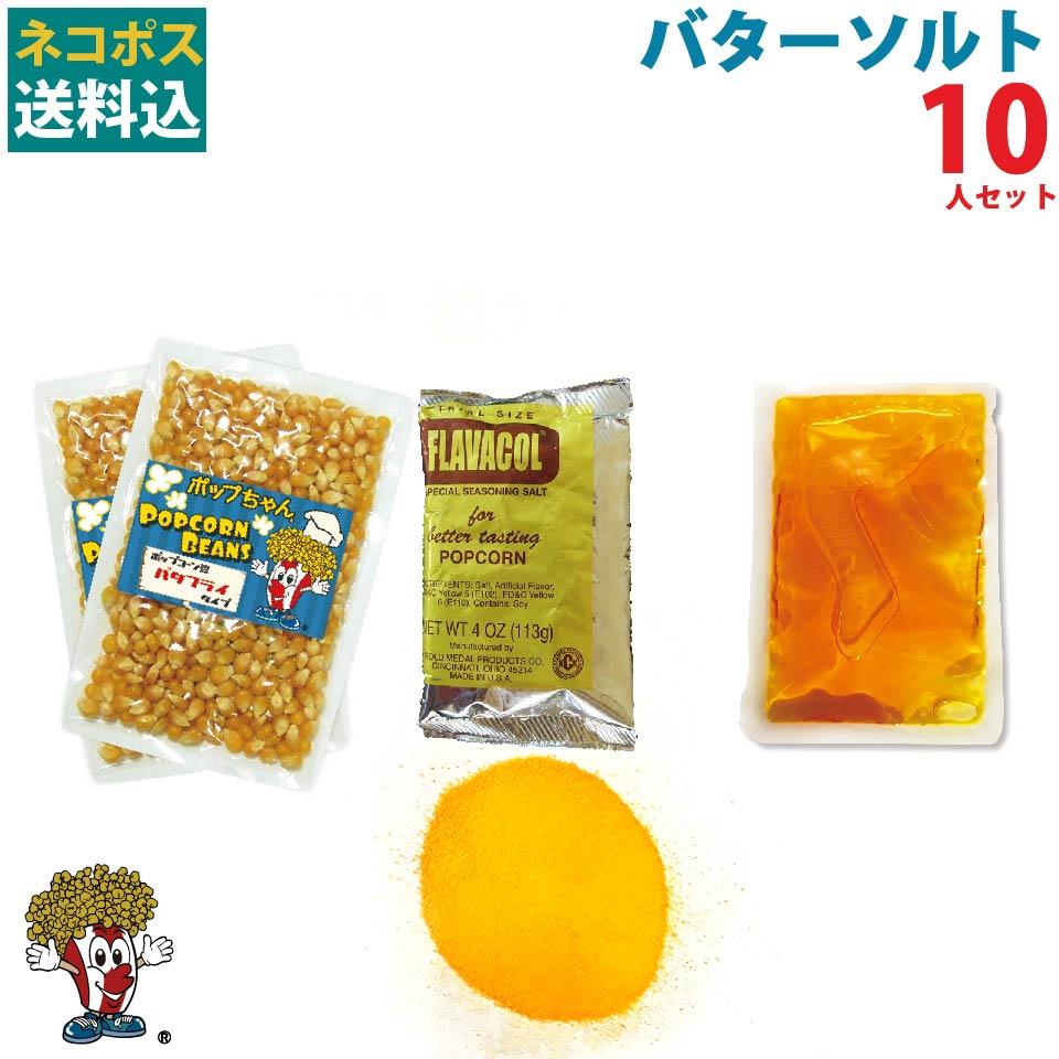 1000円ポッキリ 送料無料 店 バターソルトポップコーン10人材料セット 日本製