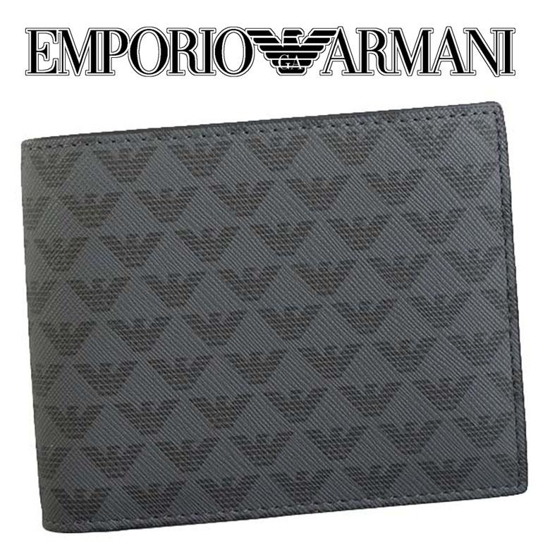 エンポリオアルマーニ EMPORIO ARMANI メンズ 小銭入れ付 二つ折り財布 [Y4R065-YG91J-81072/BLACK]