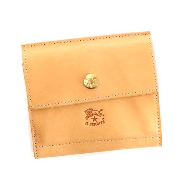 イルビゾンテ IL BISONTE 小銭入れ付 Wホック 二つ折り財布 [C0910-P-120/NATURAL]