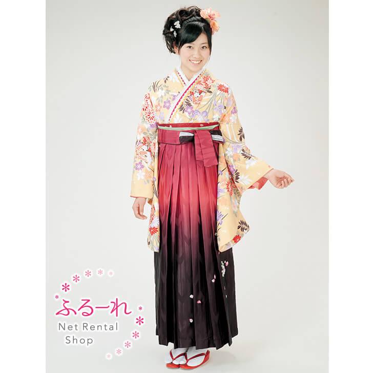 [往復送料無料][卒業式 袴]古典柄が描かれた着物に朱赤からブラウングラデーションの袴 RS0012【160cm~170cm】fy16REN07