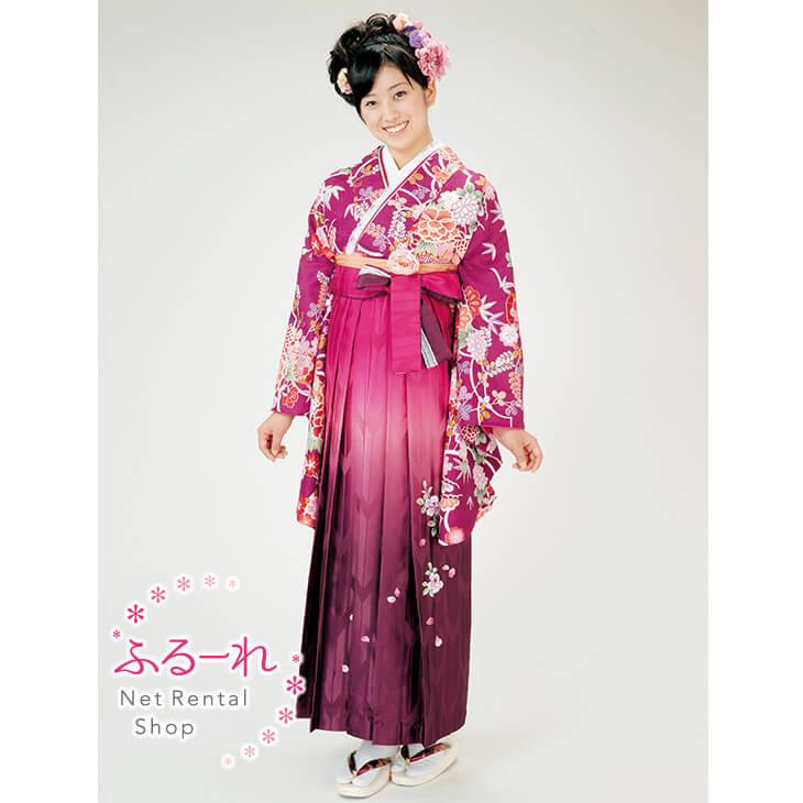 [往復送料無料][卒業式 袴]赤紫のような深いピンク色に描かれた古典柄で統一感のある袴 RS0004【153cm~160cm】fy16REN07