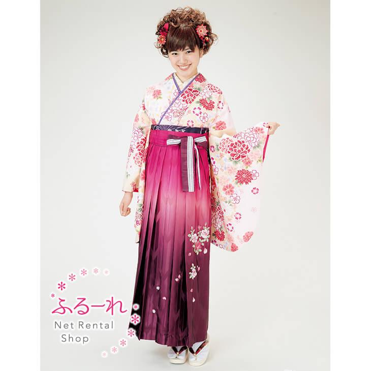 [往復送料無料][卒業式 袴]クリーム色に赤い花が全体的に描かれた可愛らしい袴 RS0016【160cm~170cm】fy16REN07