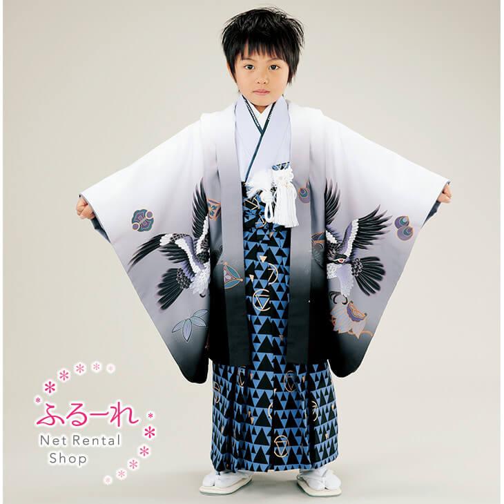 [送料別途][5歳 羽織・袴セット]羽織の柄だけでなく袖にも大きく描かれた柄が豪華な祝い着です。伊達衿にもラインストーンががが入り、個性的なデザインです。一味ちがったオシャレな羽織袴をお探しの方にオススメです。 RK0021 fy16REN07