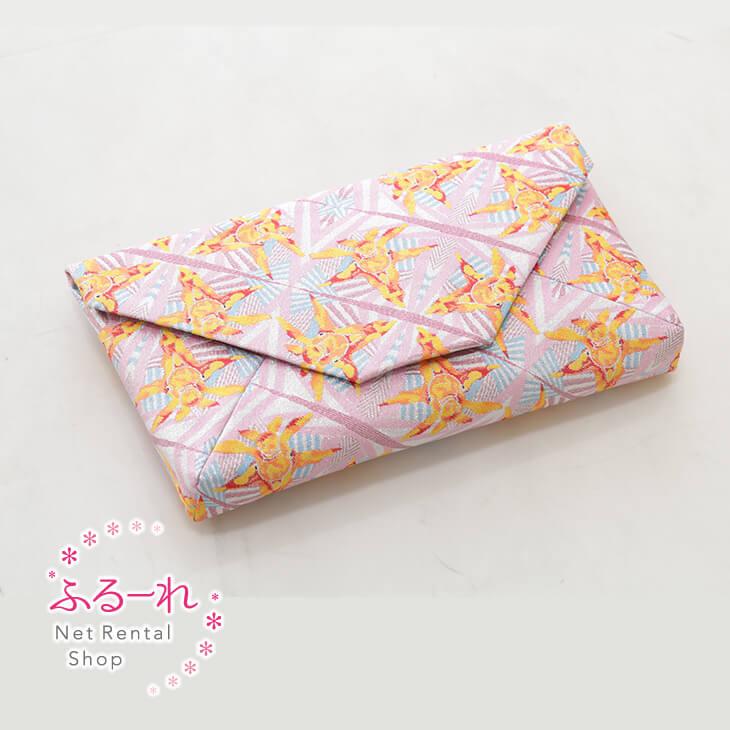 [送料別途][アウトレット商品]クラッチバッグ ピンク 金魚玉図独特な金魚の模写を鮮やかな色彩で表現した万華鏡のようなデザイン/OR0063