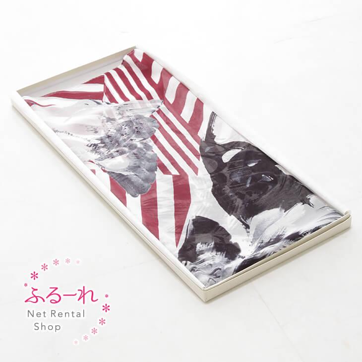 [送料別途][アウトレット商品]ショール 鶏図押絵貼屏風繊細な鶏の模写と赤い幾何学的なボーダーが独特な世界を織り成すアーティスティックなデザイン/OR0074