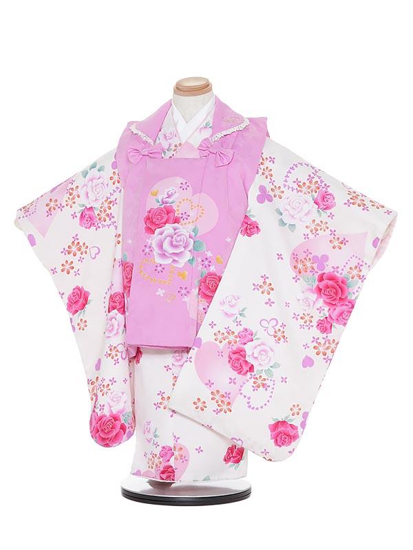 【レンタル】七五三レンタル 女の子 3歳着物フルセットH314 anan クリーム地 被布セット 子供着物 貸衣装
