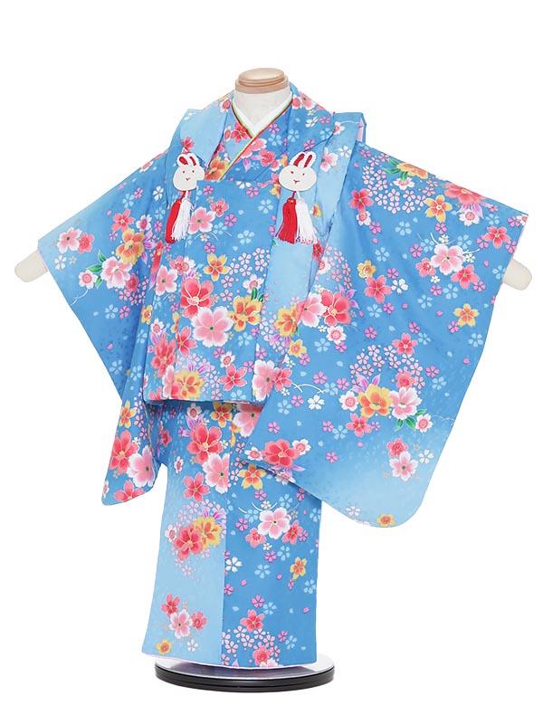 【レンタル】七五三レンタル 女の子 3歳小さめ着物フルセットH317 陽気な天使 水色 被布セット 子供着物 貸衣装