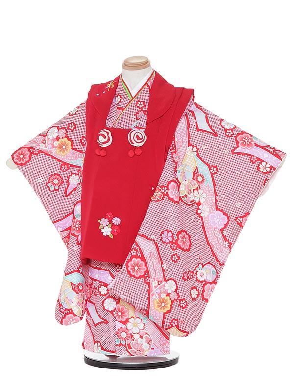 【レンタル】七五三レンタル 女の子 3歳着物フルセットH337 赤×赤 花に鞠 被布セット 子供着物 貸衣装