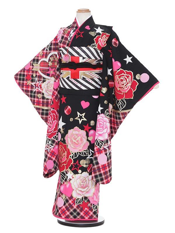 【レンタル】七五三 7歳着物レンタル H704 Akina Minami 黒地 フルセット貸衣装 女の子 子供着物 お正月 ひな祭り 結婚式 753 キッズ着物 七五三レンタル きもの