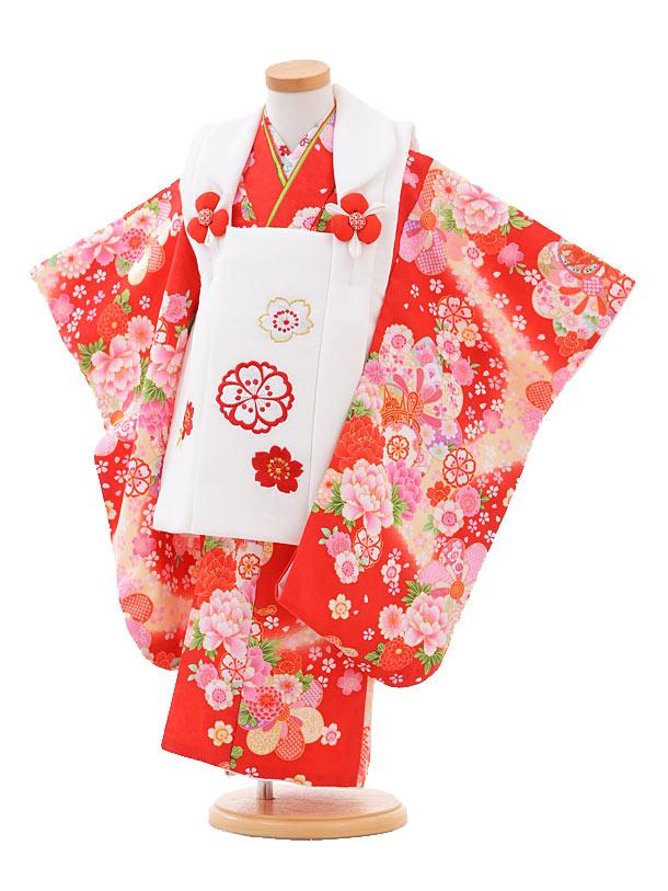 【レンタル】七五三レンタル 女の子 3歳着物フルセットA309 白×赤花に鼓 被布セット 子供着物 貸衣装