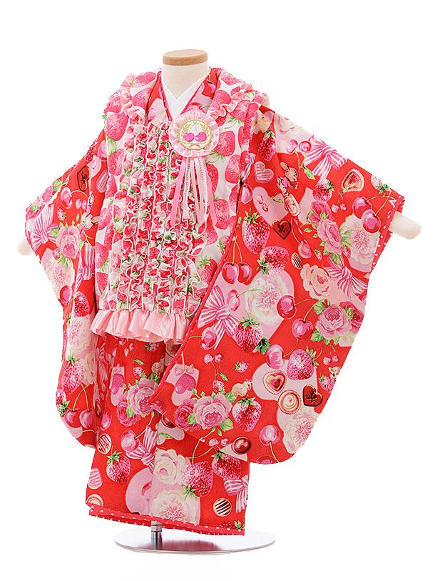 【レンタル】七五三レンタル 女の子 3歳着物フルセットA332 白×赤 フリル フルーツとリボン 被布セット 子供着物 貸衣装