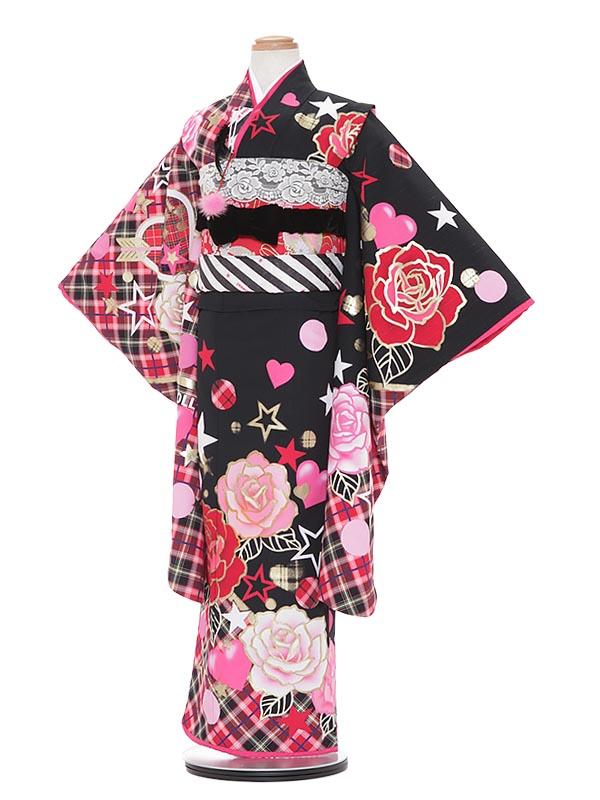 【レンタル】七五三 7歳着物レンタル A761 Akina Minami 黒地 フルセット貸衣装 女の子 子供着物 お正月 ひな祭り 結婚式 753 キッズ着物 七五三レンタル きもの