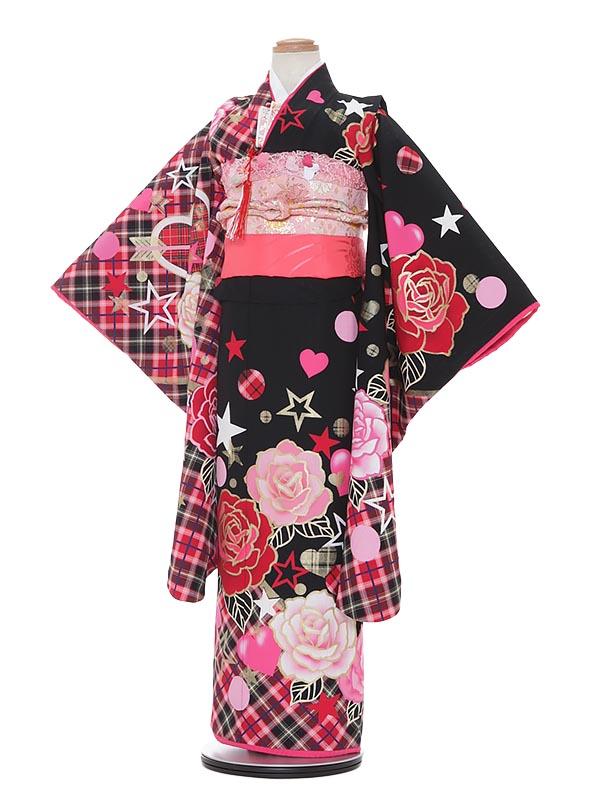 【レンタル】七五三 7歳着物レンタル A794 Akina Minami 黒地 フルセット貸衣装 女の子 子供着物 お正月 ひな祭り 結婚式 753 キッズ着物 七五三レンタル きもの