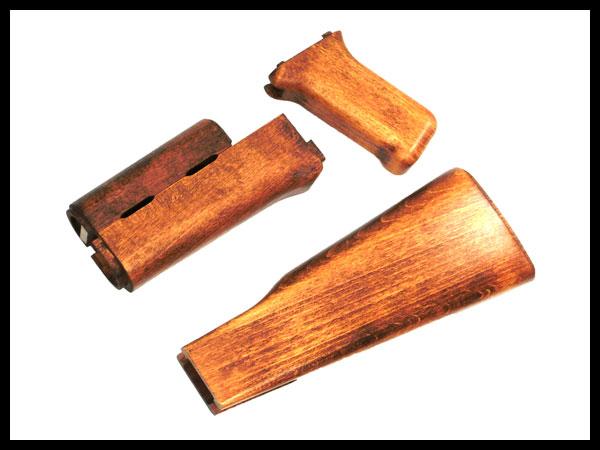 CAW (クラフトアップル) マルイ次世代AK47用 木製ストックセット(リアルウッド)コンバーション