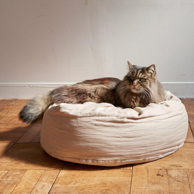 ハードマンズ フレンチ リネン ラウンドベッド 猫