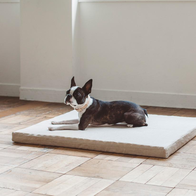 ハードマンズ フレンチ リネン デュアル ウェーブ ベッド L サイズ【犬 ベッド】犬・猫ベッド フリーステッチ オリジナル ペット用ベッド スクエア型ベッド ベージュ