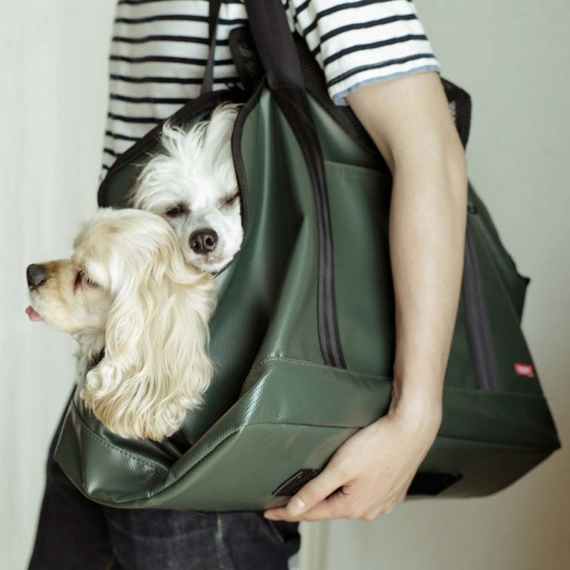 Carry-back carry bag free stitch for dog キャリーバッグスクエアトートターポリン LL size medium size dogs