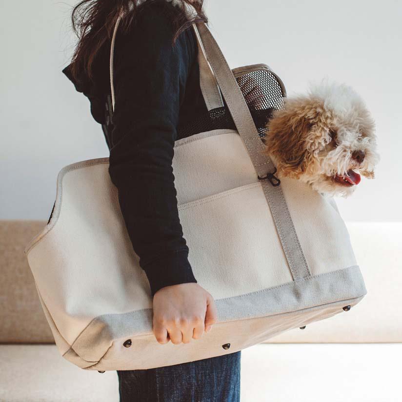 スクエア トート リネン ツートン L サイズ 犬 お出かけに便利なスクエアタイプのトートバッグ 犬用バッグ キャリー バッグ 犬 鞄 おしゃれ シンプル 日本製