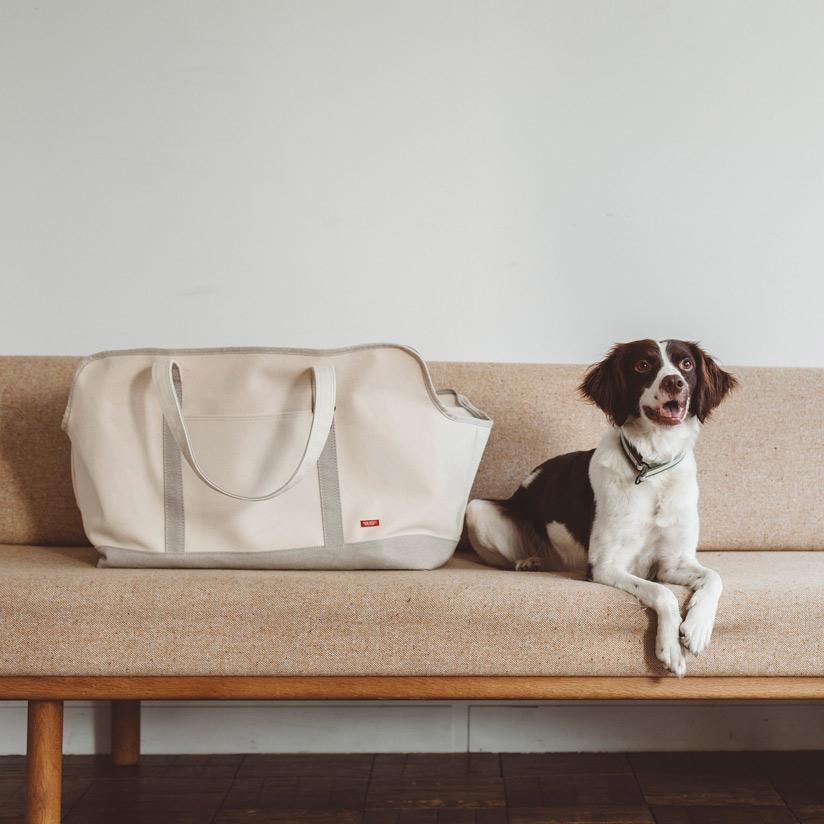 【犬 キャリー】スクエア トート リネン ツートン LL サイズ 犬 ドッグ いぬ 犬用バッグ キャリー バッグ 犬 鞄 クレート キャリーバッグ おしゃれ シンプル 日本製 洗濯 洗える コッカー コーギー 中型犬 ドゥードル 柴犬