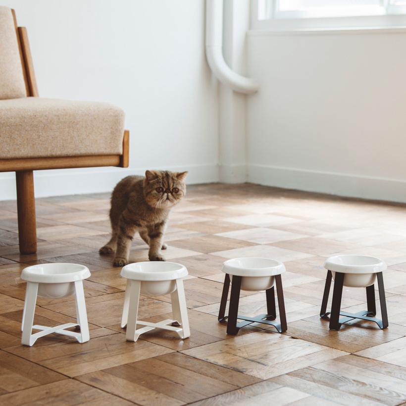 pecolo Food Stand S(Tall) 陶器 フードボウルスタンド 猫 フードボウル