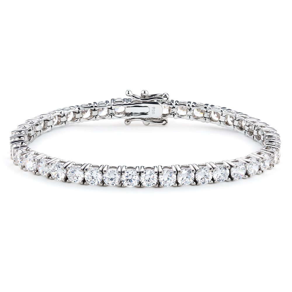 Luxurious 10 Carat Tennis Bracelet 925 Silver Platinum Finish The Finest Jewelry Gifts Birthday Wedding Anniversary Christmas