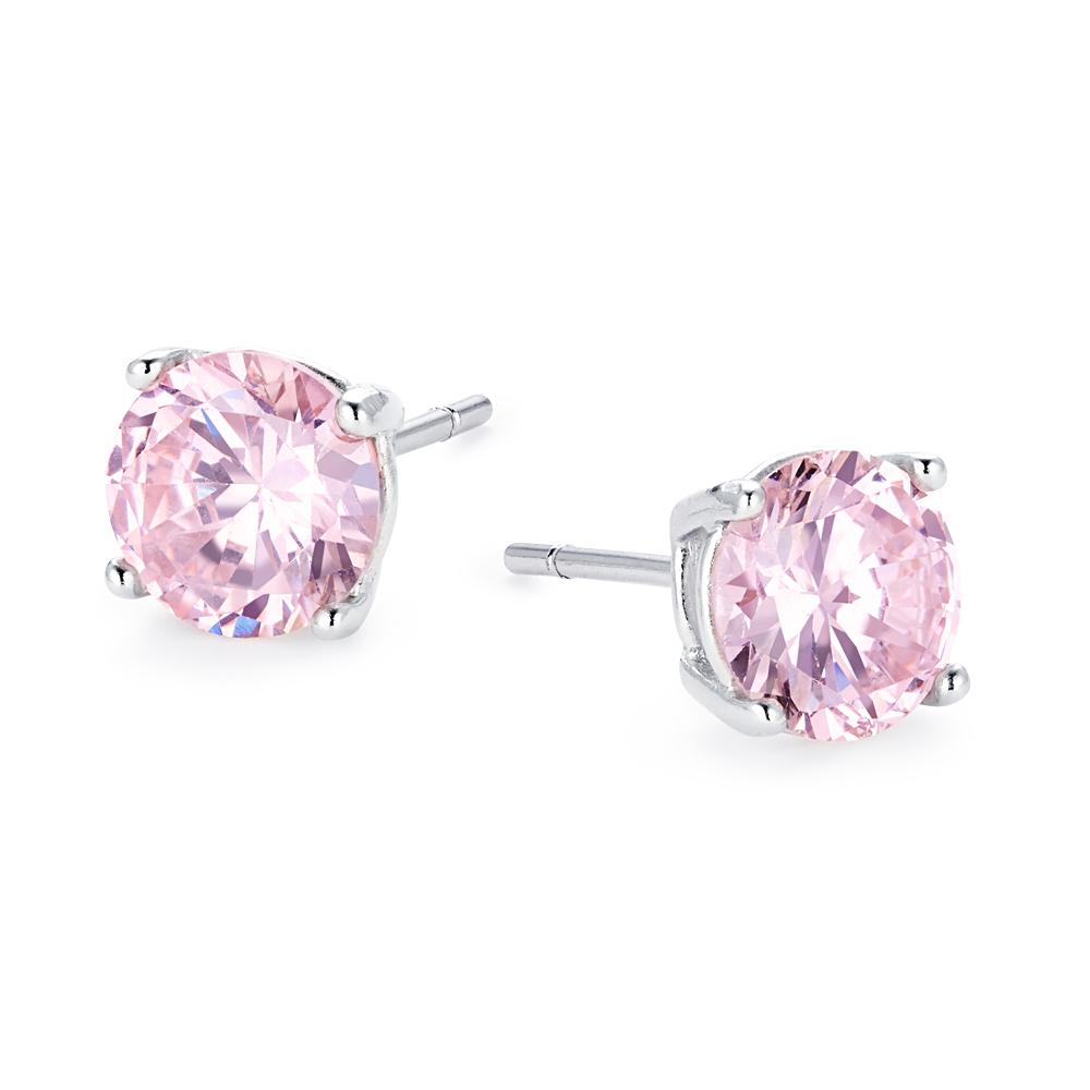fromny 1 25 carat single grain silver925 cz pink diamond earrings