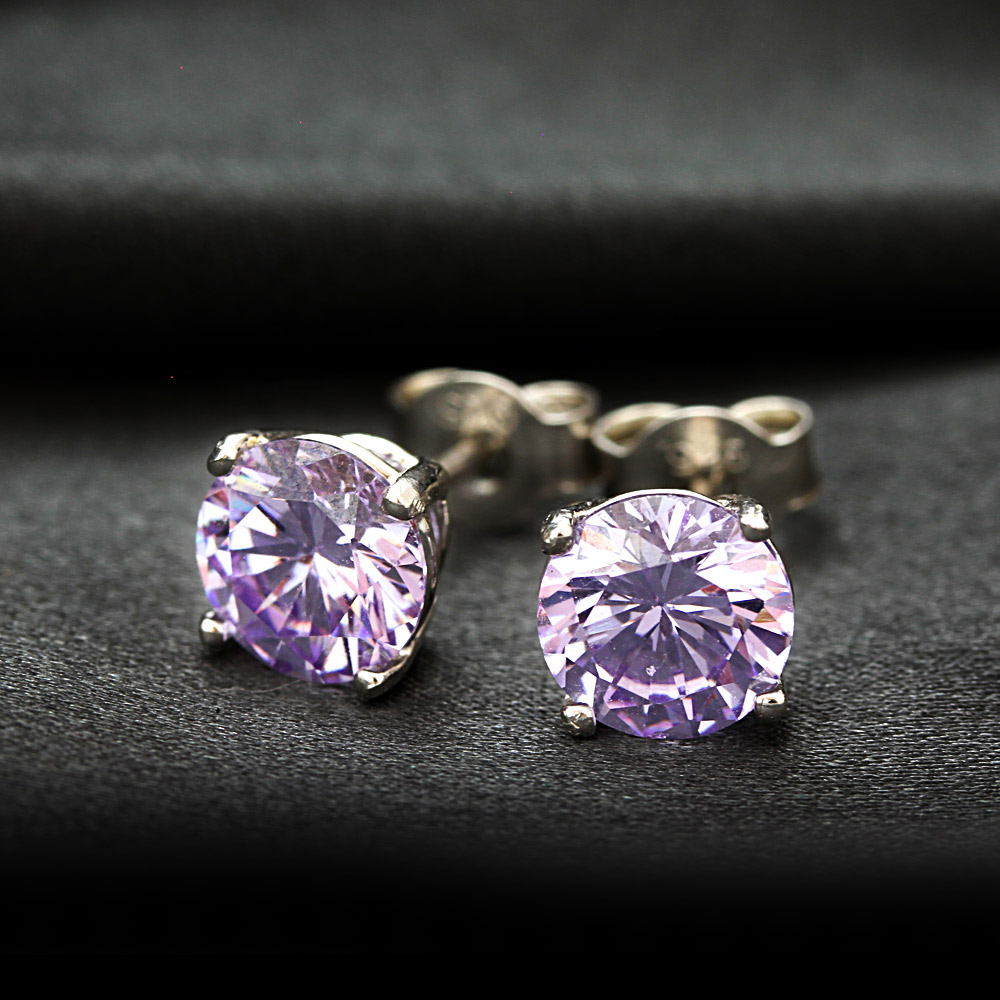 Wedding Gift Stores Nyc: Fromny: Large 1.25 Carat Cz Lavender Diamond Earrings