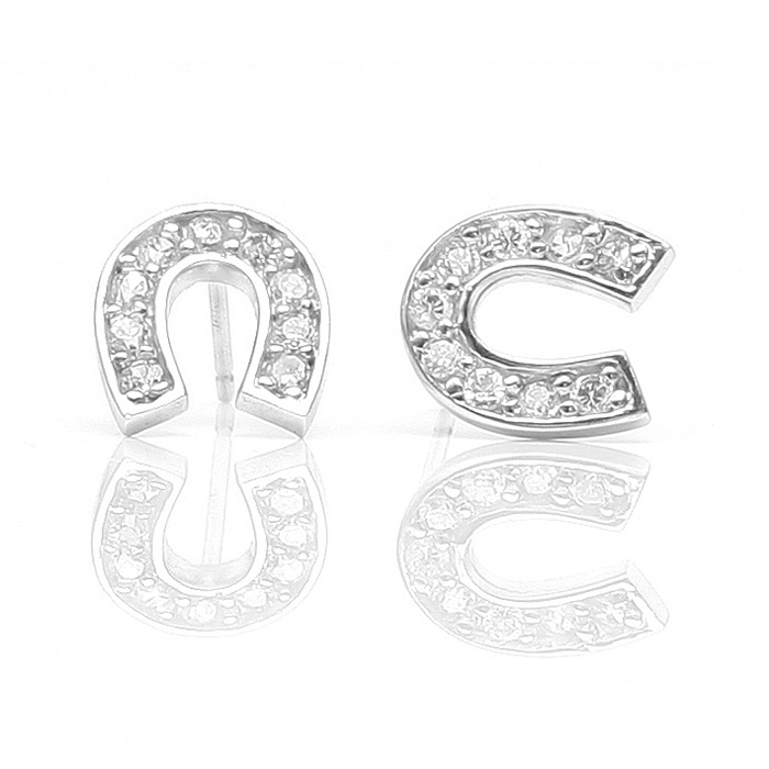 Good Luck Horse Shoe Horseshoe Earrings Cz Diamond White Gold Jewelry Presents Gifts Birthday Wedding Anniversary