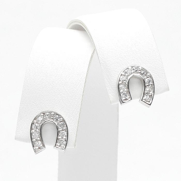祝你好运马鞋-马蹄 (马蹄)-耳环 cz 钻石耳环白色黄金首饰介绍礼品生日结婚周年纪念日