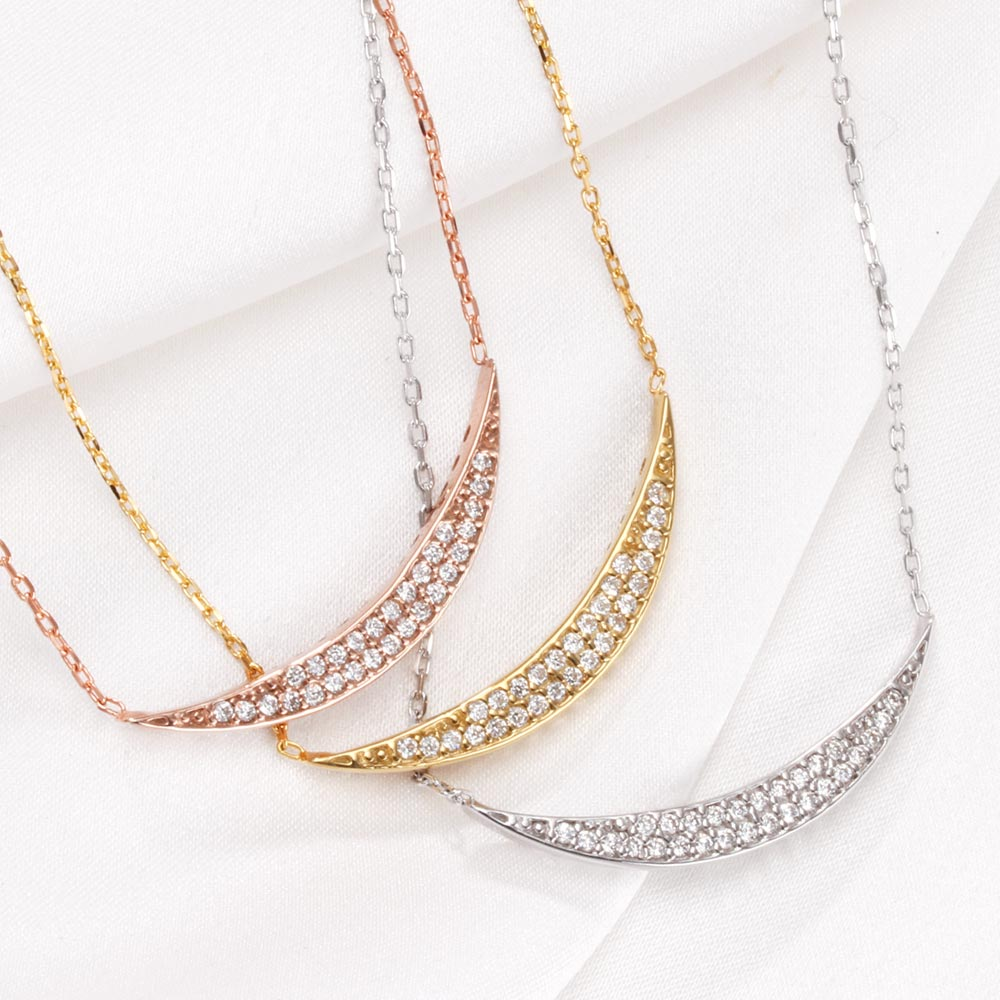 Fromny rakuten global market crescent moon crescent moon crescent moon crescent moon designer pendant necklace choose from 3 colors pt platinum pg pink yg yellow gold jewelry presents gifts birthday wedding mozeypictures Image collections