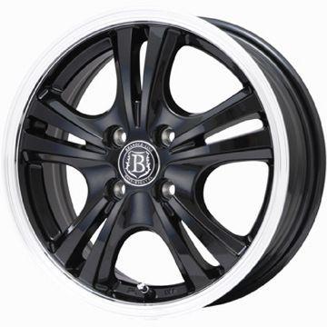 タイヤはフジ 送料無料 N-BOX専用 BRANDLE-LINE ブラックシリーズ アルボレア 4J 4.00-13 145/80R13 13インチ BRIDGESTONE NEXTRY ネクストリー(限定) サマータイヤ ホイール4本セット