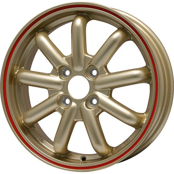 タイヤはフジ 送料無料 BRANDLE-LINE ブランドルライン ストレンジャーKST-9 (ゴールド/レッドライン) 4.5J 4.50-15 INTERSTATE インターステート ツーリングGT(限定) 165/60R15 15インチ サマータイヤ ホイール4本セット