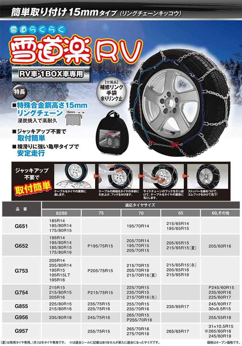 送料無料(一部離島除く) FEC FECチェーン 雪道楽RV G651 フジコーポレーション