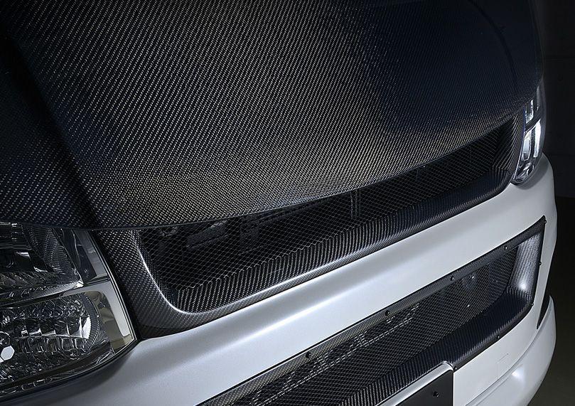 送料無料(一部離島除く) M-TECHNO エムテクノ FRONT GRILLE CARBON トヨタ ハイエース(2004~ 200系 )