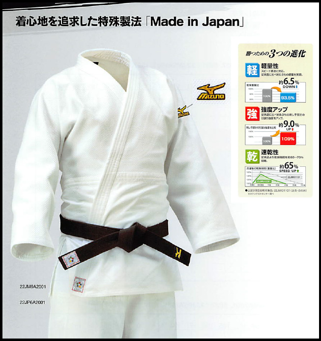 <ミズノ>【全柔連・IJF新規格基準モデル】柔道衣(優勝/上衣)  22JM6A2001