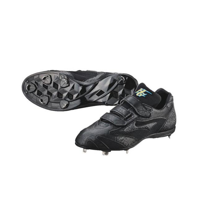 <ハイゴールド>野球スパイク シューズ 3本ベルト式 樹脂底金具スパイク PKS-500MS 高校野球対応 野球・ソフトボール ブラック