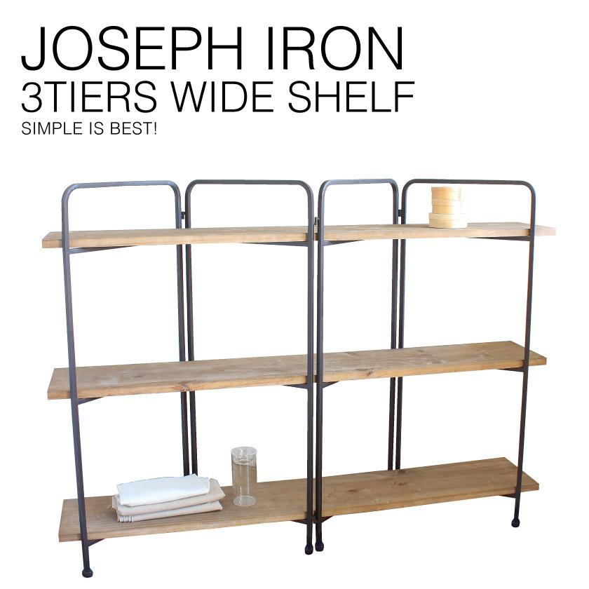 『送料無料』 JOSEPH IRON 3-Layer Wide Shelf ジョセフ アイアン 3段 シェルフ ワイド SPICE スパイス DTFF6260 ラック キャビネット 飾り棚 ディスプレイ 収納 北欧 スチール 鉄 ハンドメイド