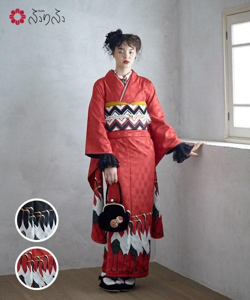 振袖「つるの行進」振袖 ふりふオリジナル レディース 振袖 きもの kimono 和柄 和風 成人式 結婚式 入学式 卒業式 パーティー 2次会 仕立て上がり プレタ フリーサイズ レトロ モダン 和色 つる 鶴 ツル 大正ロマン