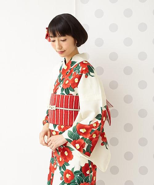 浴衣「garden camellia」ふりふオリジナル 日本製 ゆかた 総柄 和柄 花柄 椿 レトロ モダン かわいい きれい お洒落 華やか シンプル 大人 しっとり 大正ロマン
