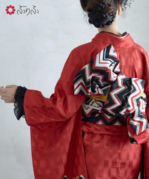 袋帯「ジグザグモール袋帯」<br>ふりふセレクト レディース 袋帯 おび オビ 振袖 着物 きもの kimono 和柄 和風 成人式 結婚式 入学式 卒業式 パーティー 2次会 仕立て上がり プレタ フリーサイズ レトロ モダン 和色 大正ロマン