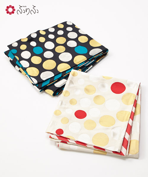 袋帯「happy dot」<br>ふりふセレクト レディース 袋帯 おび オビ 振袖 着物 きもの kimono 和柄 和風 成人式 結婚式 入学式 卒業式 パーティー 2次会 仕立て上がり プレタ フリーサイズ レトロ モダン 和色 大正ロマン